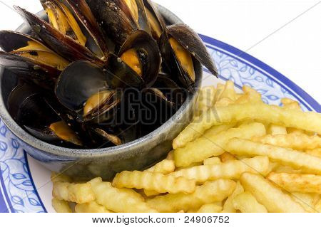Mussels and Fries Belgian Dish