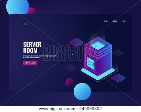 Network server room and datacenter isometric vector, cloud data storage, processing big data, technology object illustration poster