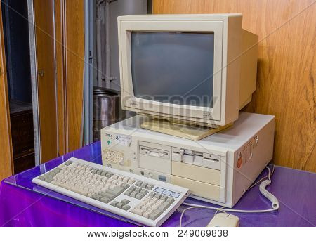 Gangneung, South Korea; July 4, 2018: Old Computer With Both 3.5 And 5 Inch Disk Drive Complete With
