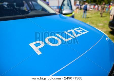 Polizei Sign On A German Police Car. Polizei Is The German Word For Police Department.