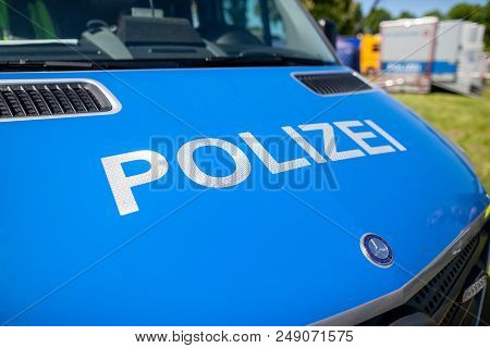 Delmenhorst / Germany - May 6,2018: German Police Car, Mercedes Benz Stands On An Open Day. Polizei