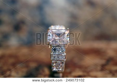 Diamond Wedding or Engagement Ring.  Diamond ring in white gold or platinum band.    poster