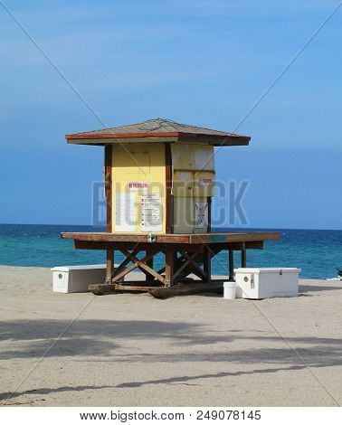 Beach Wood Lifeguard Abandoned Stand House With Signs