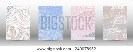 A Set Of Modern Covers. Abstract Marble Pattern. Light Blue, Beige, Pink, White Pattern With Lava Fi