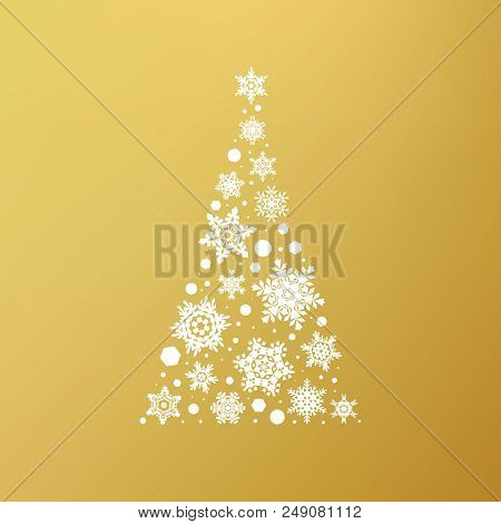 Stock Vector Illustration Abstract Christmas Tree Snowflakes. Gold Background. Concept Design For A