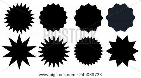 Set Of Black Starburst Stamps On White Background. Badges And Labels Various Shapes.  Vector Illustr