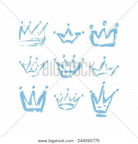 Hand Drawn Crown Icon Set In Blu Color. Ink Brush Crowns Background For Baby Prince. Vector Illustra