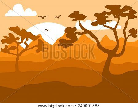 Safari Cartoon Background, Desert Savanna Panorama And Landscape With Trees, Hills And Sun. Safary L