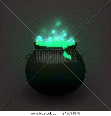 Stock Vector Illustration Witches Cauldron Isolated On A Transparent Background. Brewed Potion, Deco