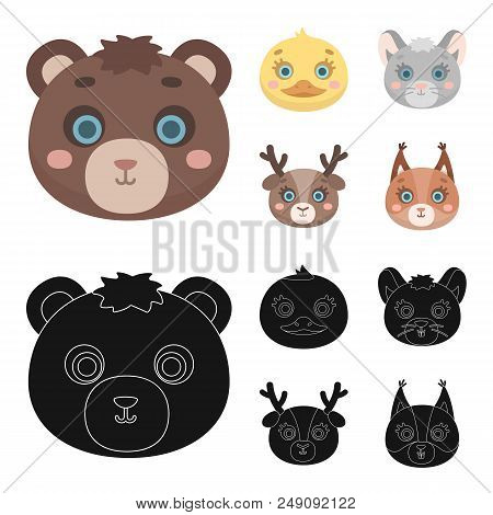 Bear, Duck, Mouse, Deer. Animal Muzzle Set Collection Icons In Cartoon, Black Style Vector Symbol St