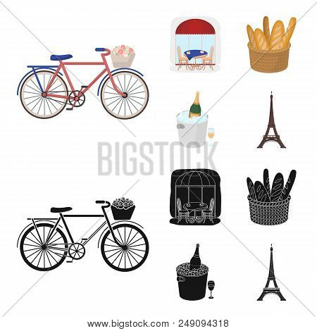 Bicycle, Transport, Vehicle, Cafe .france Country Set Collection Icons In Cartoon, Black Style Vecto