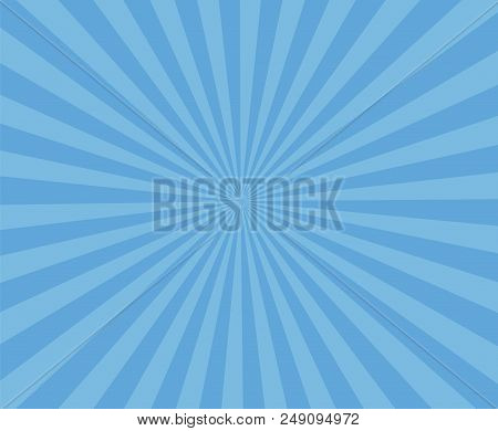 Blue Art Striped Background. Modern Stripe Rays Background. Abstract Blue Background With Sun Rays.