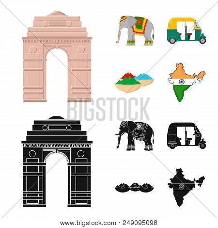 Country India Cartoon, Black Icons In Set Collection For Design.india And Landmark Vector Symbol Sto