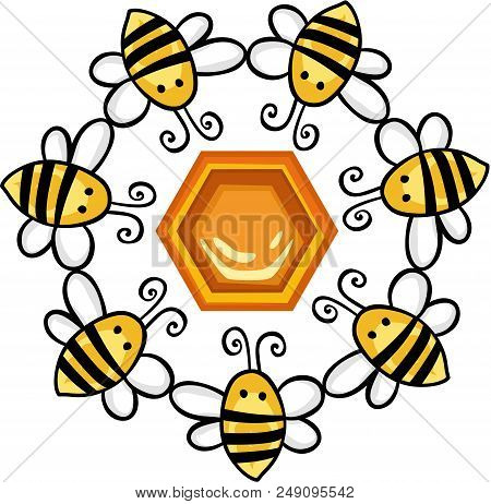 Scalable Vectorial Representing A Circle Of Bees Around A Honeycomb, Element For Design, Illustratio