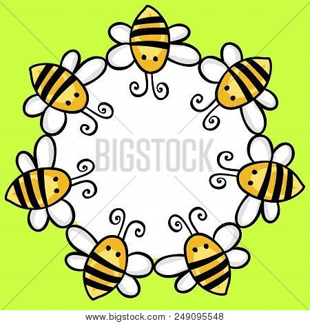 Scalable Vectorial Representing A Flying Bees Round Frame, Illustration For Your Design.