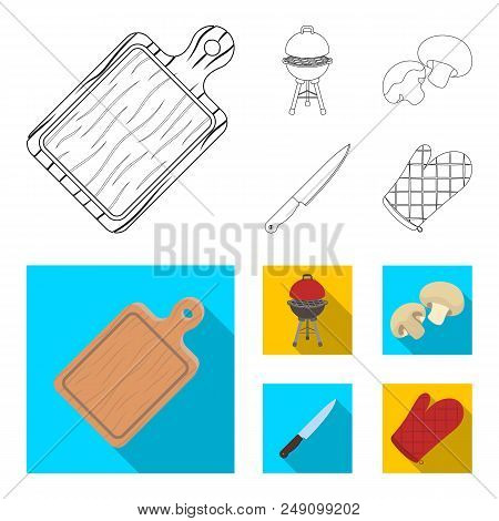 Barbeque Grill, Champignons, Knife, Barbecue Mitten.bbq Set Collection Icons In Outline, Flat Style