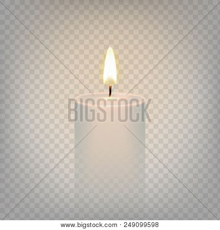 Stock Vector Illustration Realistic Candle Flame Fire Light. Isolated On A Transparent Background. E