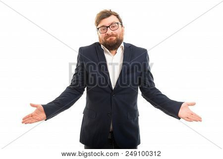 Portrait Of Business Man Showing Don't Know Gesture.