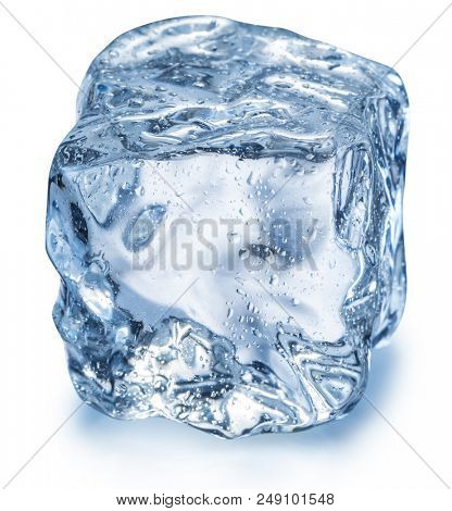Ice cube with water drops. Macro shot. Clipping path.