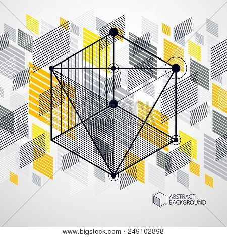 Vector Of Modern Abstract Cubic Lattice Lines Yellow Background. Layout Of Cubes, Hexagons, Squares,