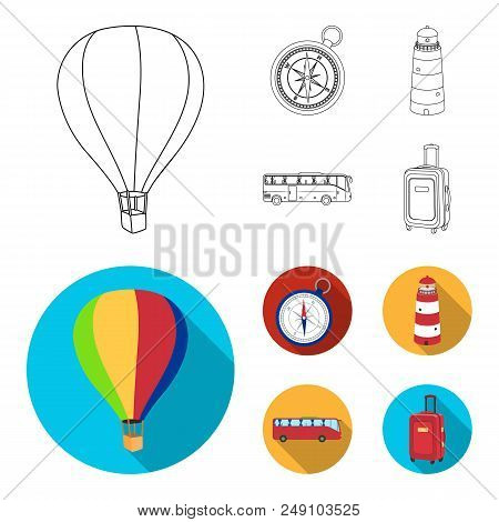 Vacation, Travel, Lighthouse, Compass .rest And Travel Set Collection Icons In Outline, Flat Style V