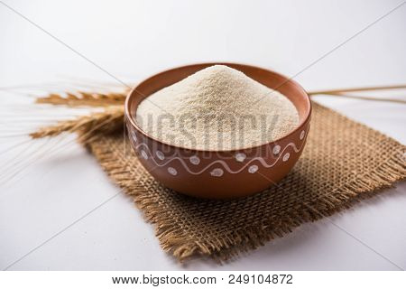 Raw Semolina Flour Or Rava Powder Is The Coarse, Purified Wheat Middlings Of Durum Wheat. Served Ove