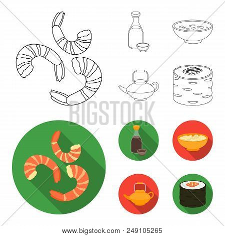 Soy Sauce, Noodles, Kettle.rolls.sushi Set Collection Icons In Outline, Flat Style Vector Symbol Sto