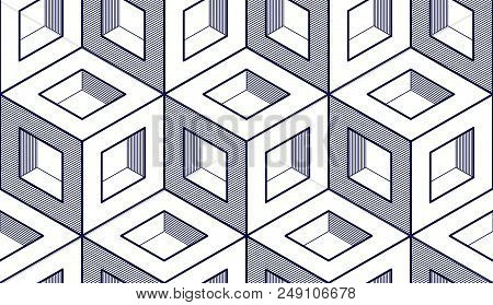 Geometric Cubes Abstract Seamless Pattern, 3d Vector Background. Technology Style Engineering Line D