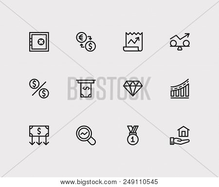Economy Icons Set. Stock News And Economy Icons With Winner, Stability And Exchange. Set Of Analysis