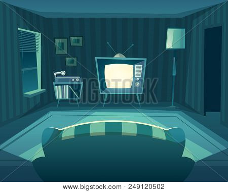 Vector Cartoon Living Room At Night. Front View From Sofa To Tv Set, Vinyl Player. Domestic Interior