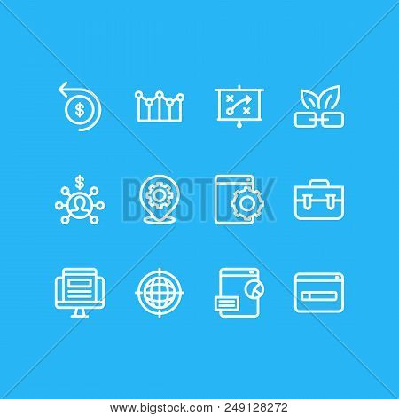 Vector Illustration Of 12 Advertisement Icons Line Style. Editable Set Of Marketing Strategy, Domain