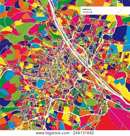 Colorful Map Of Vienna, Austria. Background Version For Infographic And Marketing Projects. This Map