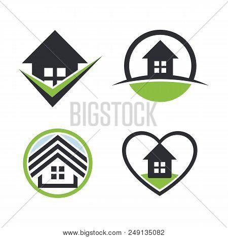 Real Estate Logo Set.house Rent Icon. Sweet Home Collection. Heart Icon.estate Sale Logo. Round Icon