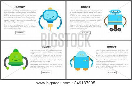 Robot Set Of Web Pages Text Sample Title And Gears Robot With Friendly Face Having Emotions And Mind