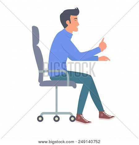 Man In Jeans And Blue T-shirt Sitting On Chair Side View Vector Illustration. Nonverbal Body Languag