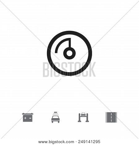 Set Of 5 Editable Vehicle Icons. Includes Symbols Such As Road, Battery, Odometer And More. Can Be U