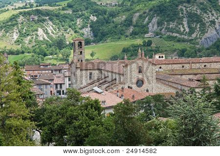 Perspective of the St. Colombano Abbey. Bobbio. Emilia-Romagna. Italy. poster