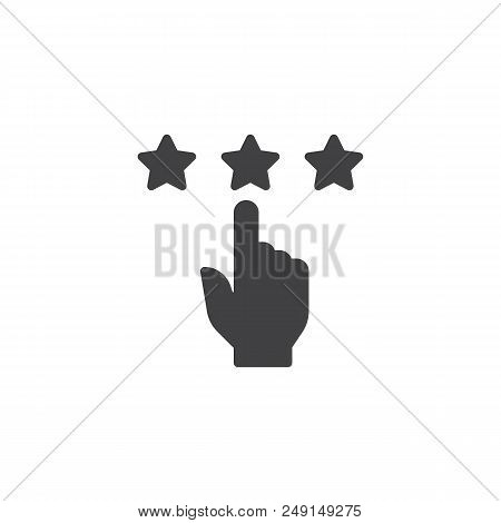Rating Stars Vector Icon. Filled Flat Sign For Mobile Concept And Web Design. Rate With Hand And Sta