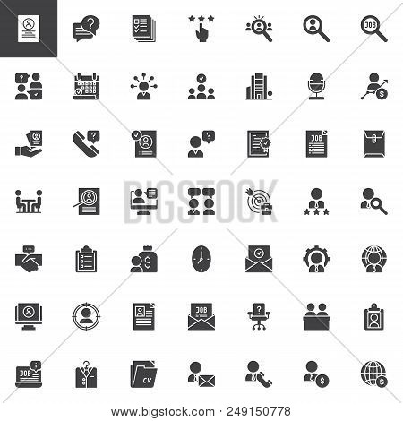 Business Interview Vector Icons Set, Modern Solid Symbol Collection, Filled Style Pictogram Pack. Si