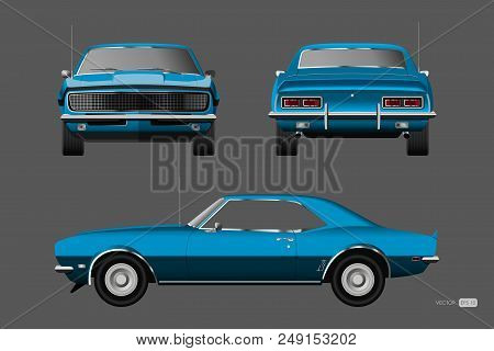 Retro Car Of 1960s. Blue American Vintage Automobile In Realistic Style. Front, Side And Back View.