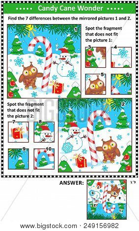 New Year Or Christmas Visual Puzzles With Candy Cane, Snowman And Owl. Find The Differences Between