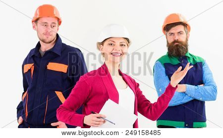 Team Of Architects, Builders With Woman Manager, Isolated White Background. Woman In Hard Hat With S
