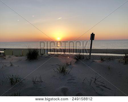 Sunrise Over The Atlantic Ocean In Bethany Beach, Delaware