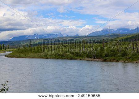 North Fork Flathead River Running Through Glacier National Park