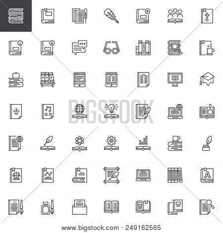 Literature Books Outline Icons Set. Linear Style Symbols Collection, Line Signs Pack. Vector Graphic