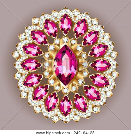 brooch jewelry, design element.  Geometric vintage ornamental background. poster