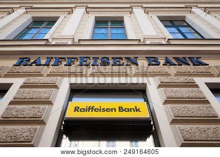 Szeged, Hungary, July 3, 2018: Raiffeisen Logo On Their Main Bank In The Center Of Szeged. Raiffeise