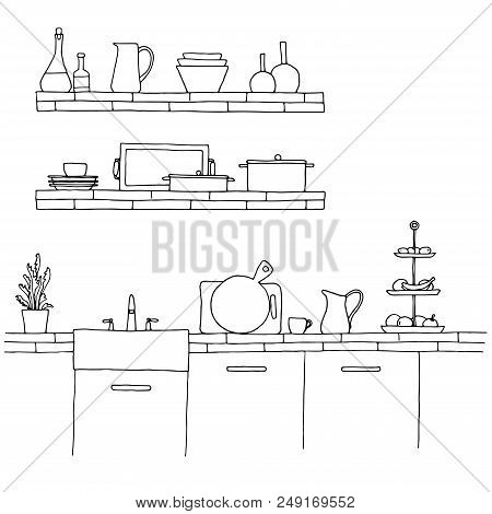 Kitchen Worktop With Sink. The Sketch Of The Kitchen