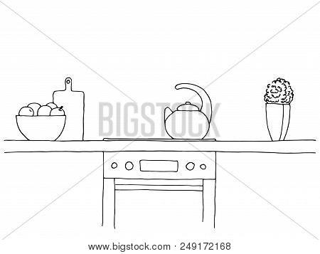 Sketch Of The Kitchen. Worktop, Stove, Kettle And Other Items. Vector Illustration