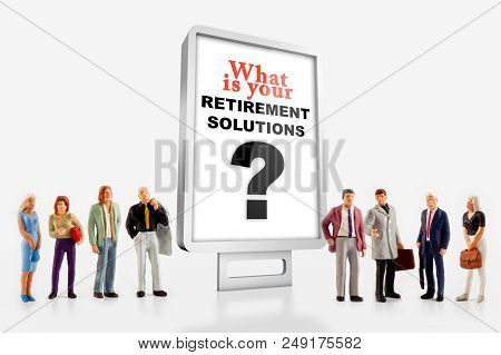Miniature Peoples Retirement Concept, A Group Of Different Age People Are Standing In Front Of A Bil